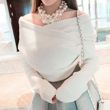 Slash Neck Long Sleeves Pullover Sweater