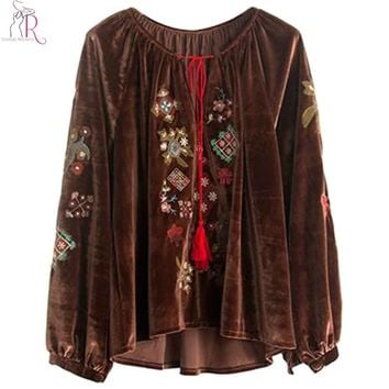 2 Colors Velvet Floral Embroidered Blouse Women Tassel Tied Front Long Sleeve Dipped High Low Hem Vintage Top Wear