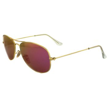 Ray-Ban Sunglasses Cockpit 3362 112/4T Matt Gold Pink Mirror Small 56mm