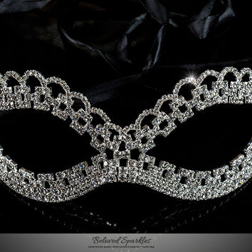 Lonie Swirl Cluster Masquerade Mask | Silver | Crystal