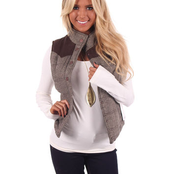 Brown Snap Button Vest With Faux Suede Shoulders