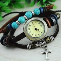Vintage Style Leather Belt Watch with Turquoise Beads Aa001