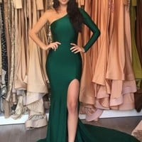Sexy One Shoulder Mermaid Prom Dresses,Long Prom