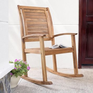 Coral Coast Norwood Indoor/Outdoor Horizontal Slat Back Rocking Chair | www.hayneedle.com