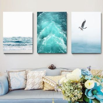 Blue Sea And Sky Nordic Landscape Canvas Painting Free Seagull Waves Beach Art Poster Living Room Decor Seabirds Wall Pictures