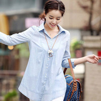 Three Fourth Sleeves Button Down Long Shirt