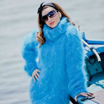 Blue Fuzzy Mohair Sweater, Turtleneck Pullover, Fluffy Jumper, Fetish Sweater T47