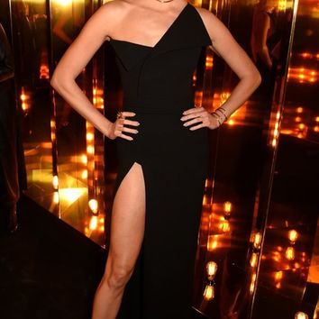 She's Everything Black Sleeveless One Shoulder High Slit Bodycon Maxi Dress - Inspired by Karlie Kloss