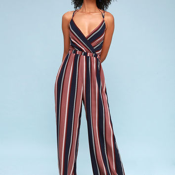 Jump On It Navy Blue and Mauve Striped Lace-Up Jumpsuit