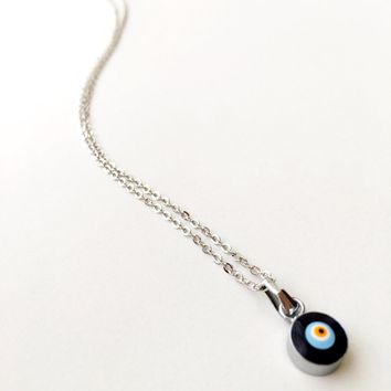 Evil eye choker necklace, silver evil eye necklace, blue evil eye necklace