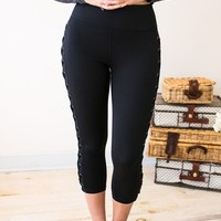 Without A Lace High Waist Legging- Black