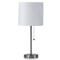 StyleCraft Brushed Steel Table Lamp with White Shade