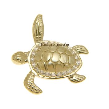 SOLID 14K YELLOW GOLD SHINY HAWAIIAN SEA TURTLE BLING CZ SLIDE PENDANT
