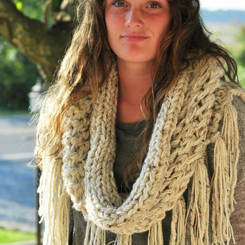Knit Cowl 60- 70's Hippie Bohemian Style  with fringe -Cowl shawl incolor- Oatmeal -Ready to Ship!