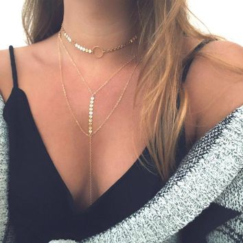 Kendall Disc Multi-Layered Choker + Lariat Necklace