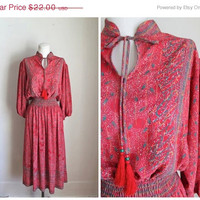 30% OFF vacation sale 50 Percent OFF last call... // vintage peasant dress - TASSELED red chiffon dress / M-L