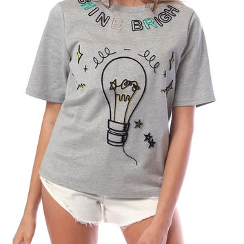 Shine Bright Short-Sleeve Jersey Top - Gray
