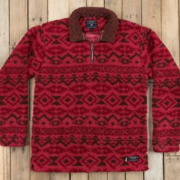 Southern Marsh Appalachian Peak Sherpa Pullover - Washed Red/Brown