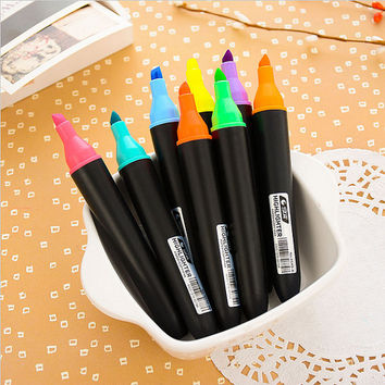 Markers Set 8 Colors Highlighter Pens School Supplies Fluorescent Color Highliters Pens Set Painting and Drawing Set for Kids Highlighting