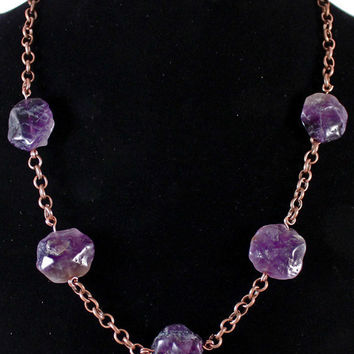 Amethyst on Copper Chain Necklace / Dragon Loot