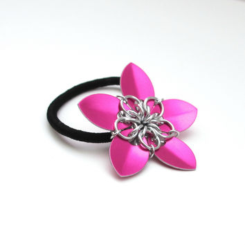 Hot pink chainmaille flower hair accessory