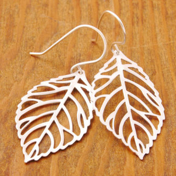 SILVER Leaf Earrings, filigree leaf, branch earrings, silver earrings, sterling silver, nature jewelry, holiday sale, black friday sale