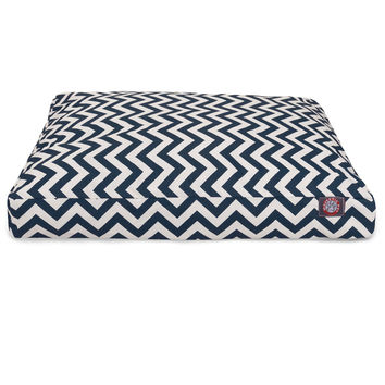 Navy Blue Chevron Small Rectangle Pet Bed