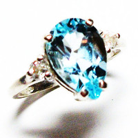 "Blue topaz ring, accent ring, 3 stone ring, mothers day ring, blue, blue jewelry, s 6 1/2 "" Blue Skies"""