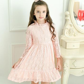 2017 Autumn Girl Lace Princess Dress Kids Cotton Longsleeve Dresses Elegant Girls Dress For Party Wedding Birthday Teens Clothes