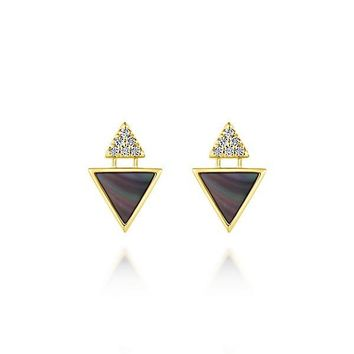 14K Yellow Gold Diamond and Black Mother of Triangular Drop Stud Earrings