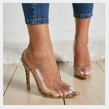 New ultra high heel sexy transparent pointy single shoes
