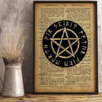 "Pentagram print Magic circle poster Occult decor, Pentagram with text ""spirit water fire earth air"" using Runes (AL06)"