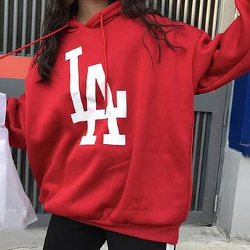 LA Women Fashion Loose Hooded Top Sweater Pullover Hoodie