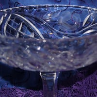 Stunning Vintage Pedestal Crystal Candy Dish Etched With Floral Design