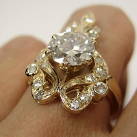 1.64ct 1880s VICTORIAN Antique Vintage  Diamond  SOLITAIRE Engagement Ring Wedding Band in 18k Yellow Gold