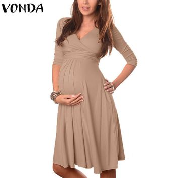 VONDA Maternity Clothes 2018 Summer Pregnant Women Dress Casual Sexy V Neck 3/4 Sleeve Solid A-line Dresses Vestidos Plus Size