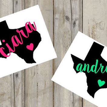 Texas Monogram Decal - Custom Decal - Texas - Heart - Yeti Decal - Car Decal - Any Size - Any Color - Glitter - Custom Sticker - Vinyl