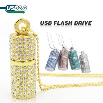 usb flash drive 8gb16G pen drive 32gb pendrive 64gb U Disk USB 2.0 drive Diamond Crystal Memory Necklace Stick USB key cle usb