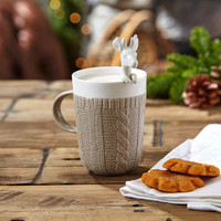 Cable Knit Mug And Reindeer Spoon