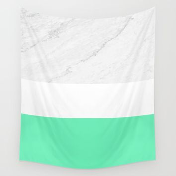 Marble White Mint Wall Tapestry by ARTbyJWP