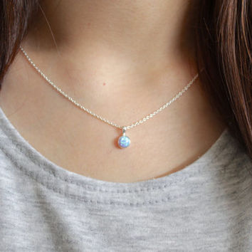 Blue Opal Necklace, Opal Necklace, Opal Ball Necklace, Opal Jewelry, Opal Silver Necklace, Dainty Opal Necklace, Opal Charm, Opal Pendant