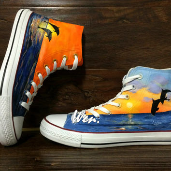 WEN Original Design Dolphin Sunrise & Sunset Converse Hand Painted Shoes,Custom Converse Canvas Shoes Birthday Gifts Converse Chuck Taylor