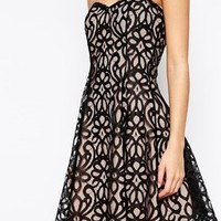 Lipstick Boutique Petite Lace Overlay Bandeau Prom Dress