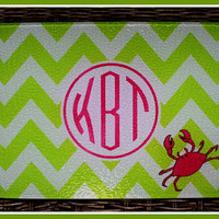 Personalized Glass Cutting Board, Monogrammed Glass Cutting Board, Personalized Cutting Board, Monogrammed Cutting Board, Pink and Green
