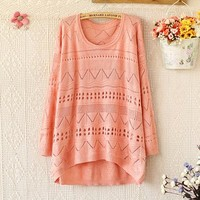 Funshop Woman's Hollow Out Round Neck Sweater 090317 Color Pink