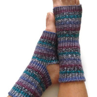 Toeless Yoga Socks Hand Knit in Teal Tease Pedicure Pilates Dance