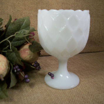 Vintage Milk Glass Compote White Diamond Quilt Octagon Pedestal Bowl Collectible Home Decor Glassware