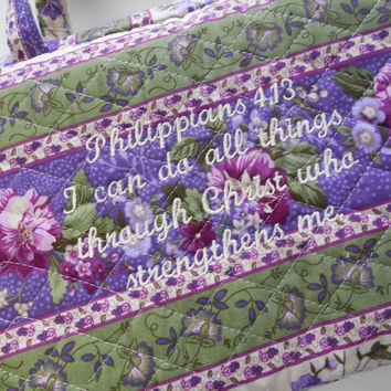 Custom Made Bible Cover, Zipper Personalized Quilted Fabric Lavender and Green Floral