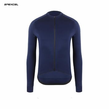 spexcel 2017 pro race Autumn thin version Navy long sleeve cycling jersey road bicycle clothing  race tight fit cycling gear