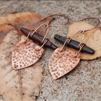 Textured hammered shield earrings, copper and ebony wood, metal smith and wire wrap